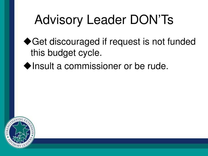 Advisory Leader DON'Ts