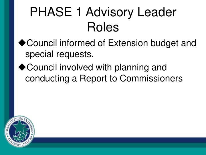 PHASE 1 Advisory Leader Roles