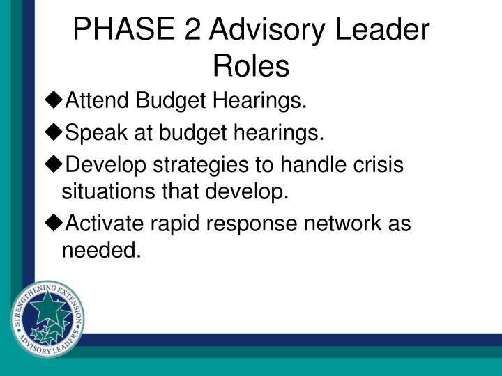 PHASE 2 Advisory Leader Roles