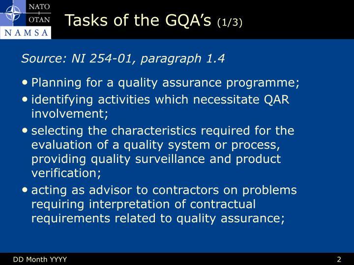 Tasks of the gqa s 1 3