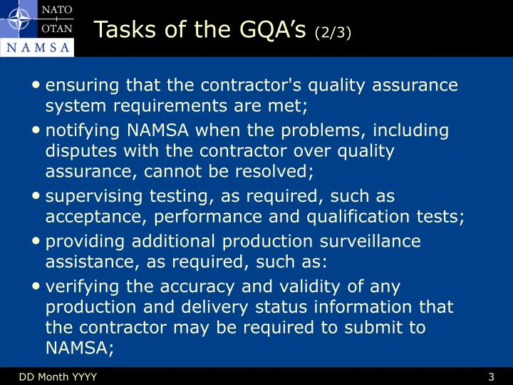 Tasks of the gqa s 2 3