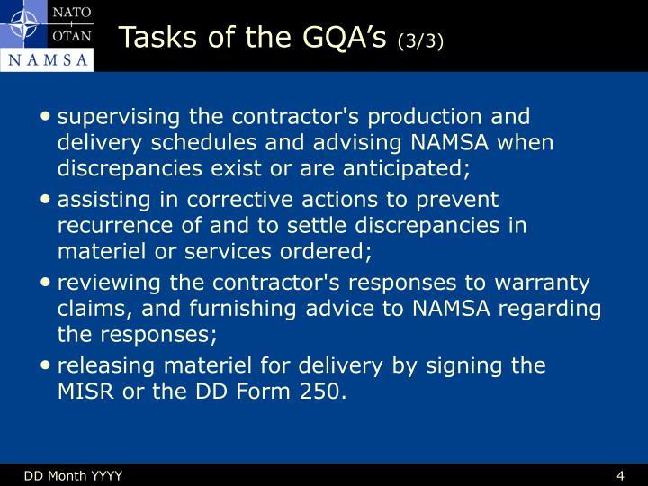 Tasks of the GQA's