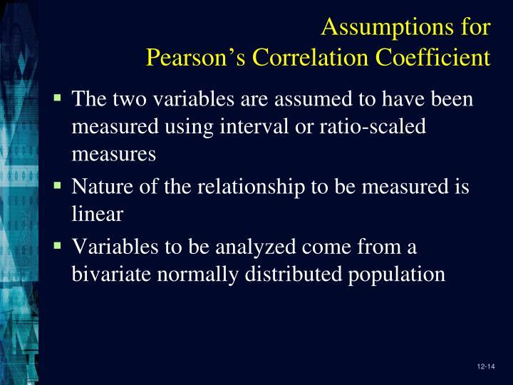 Assumptions for