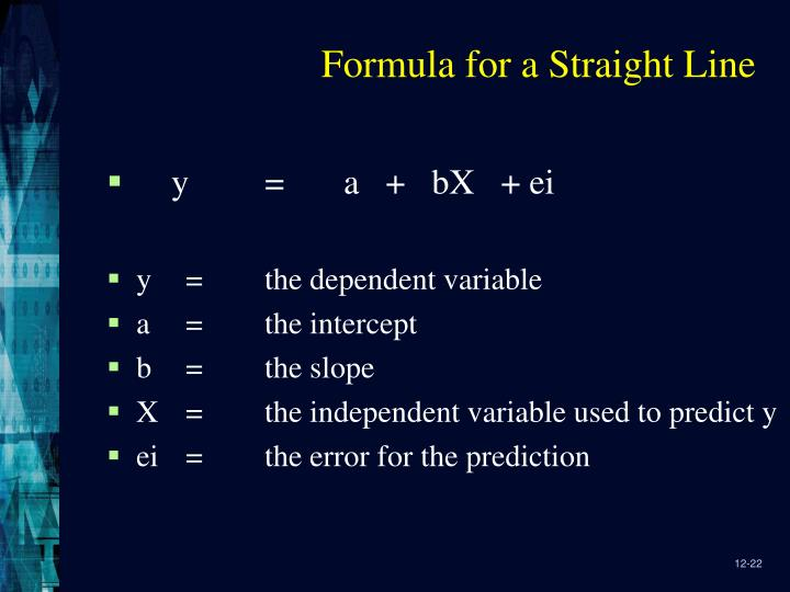 Formula for a Straight Line