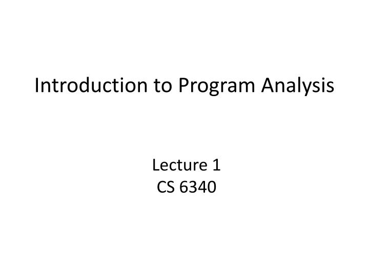 introduction to program analysis n.