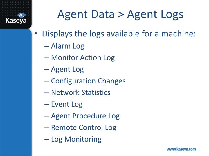 Agent Data > Agent Logs