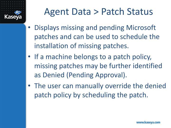 Agent Data > Patch Status