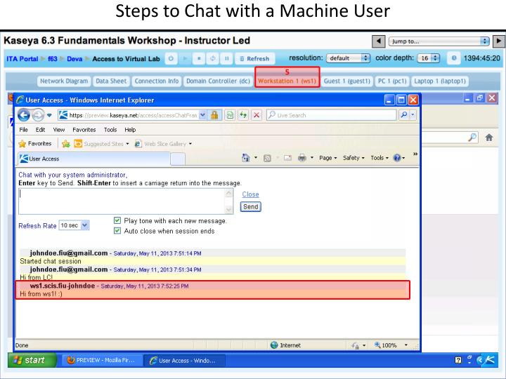 Steps to Chat with a Machine User