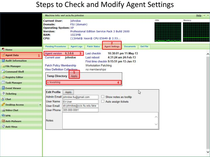 Steps to Check and Modify Agent Settings