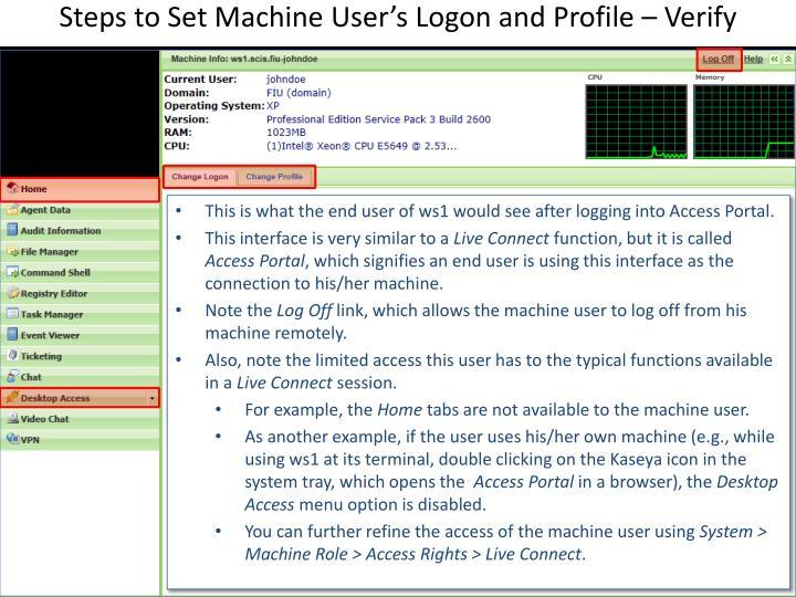 Steps to Set Machine User's Logon and Profile – Verify