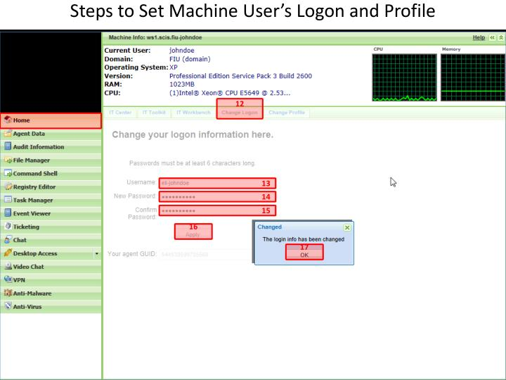 Steps to Set Machine User's Logon and Profile