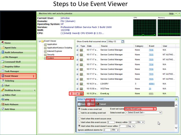 Steps to Use Event Viewer