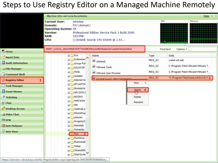 Steps to Use Registry Editor on a Managed Machine Remotely