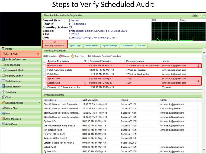 Steps to Verify Scheduled Audit