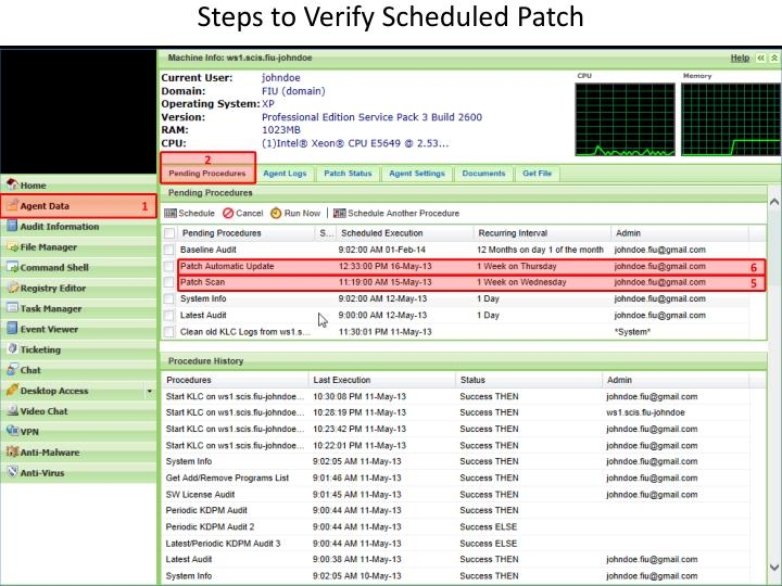 Steps to Verify Scheduled Patch