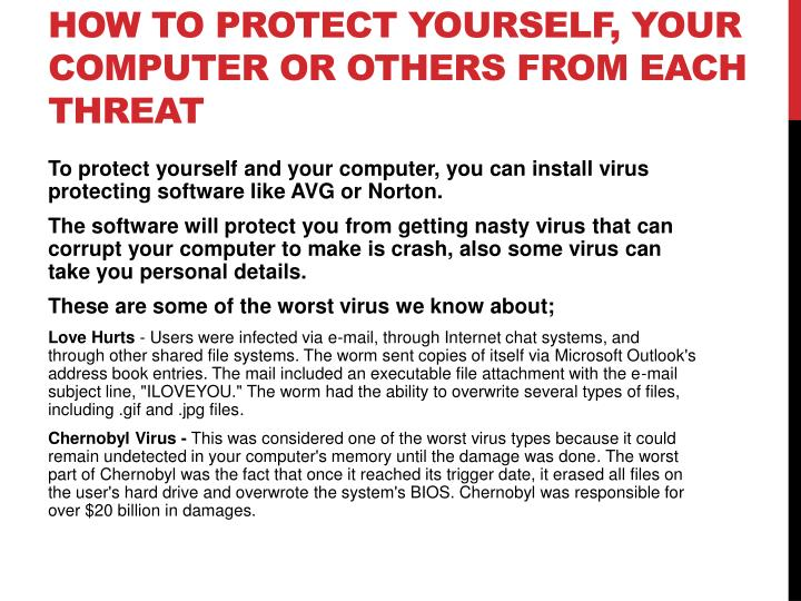 How to protect yourself, your computer or others from each threat