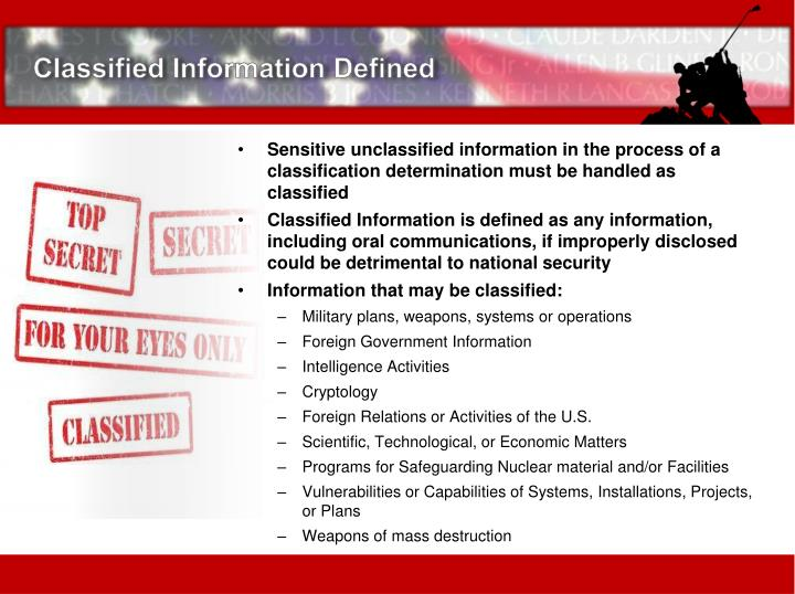 Classified Information Defined