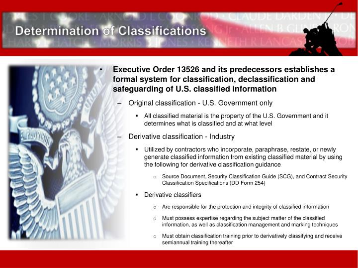 Determination of Classifications