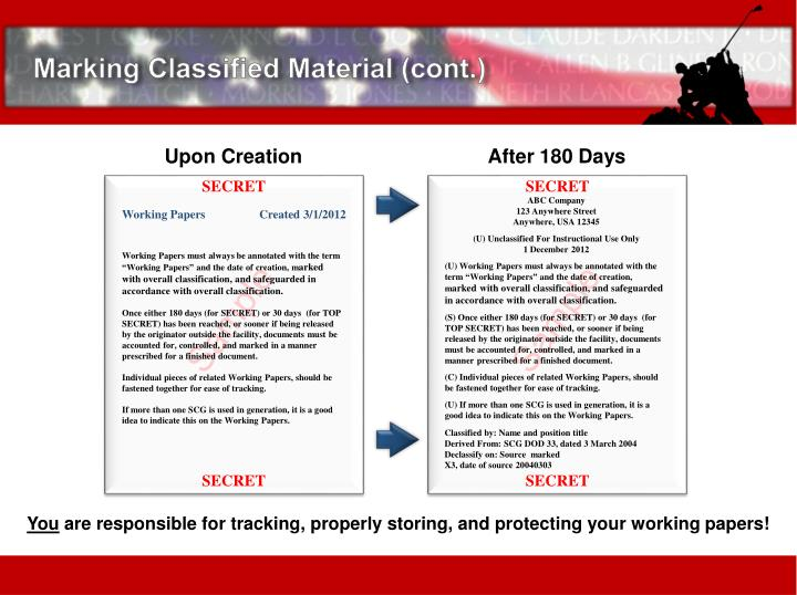 Marking Classified Material (cont.)