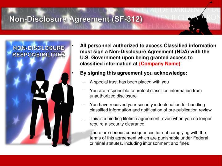 Non-Disclosure Agreement (SF-312)