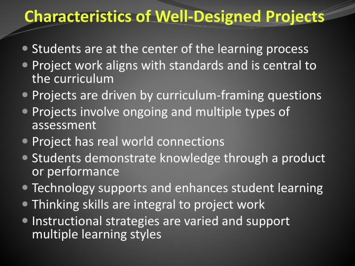 Characteristics of Well-Designed Projects