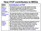 how iycf contributes to mdgs