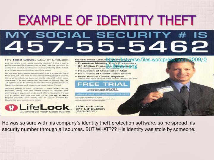 EXAMPLE OF IDENTITY THEFT