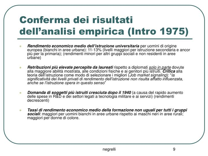 Conferma dei risultati dell'analisi empirica (Intro 1975)