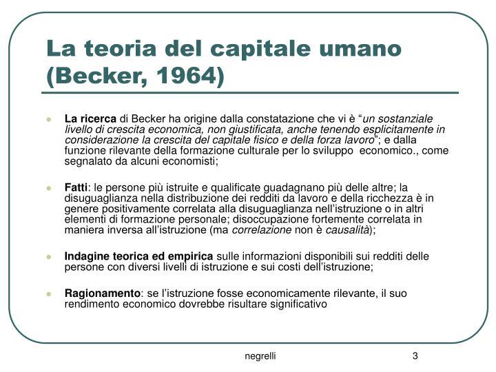 La teoria del capitale umano becker 1964