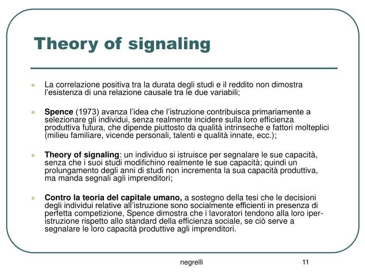 Theory of signaling