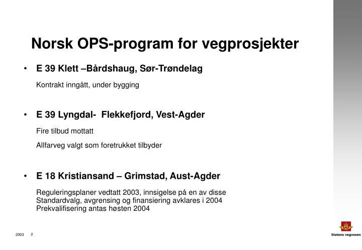 Norsk ops program for vegprosjekter