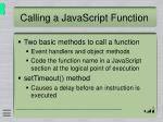 calling a javascript function
