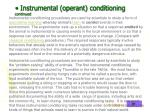 instrumental operant conditioning continued