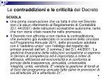 le contraddizioni e le criticit del decreto