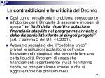 le contraddizioni e le criticit del decreto1