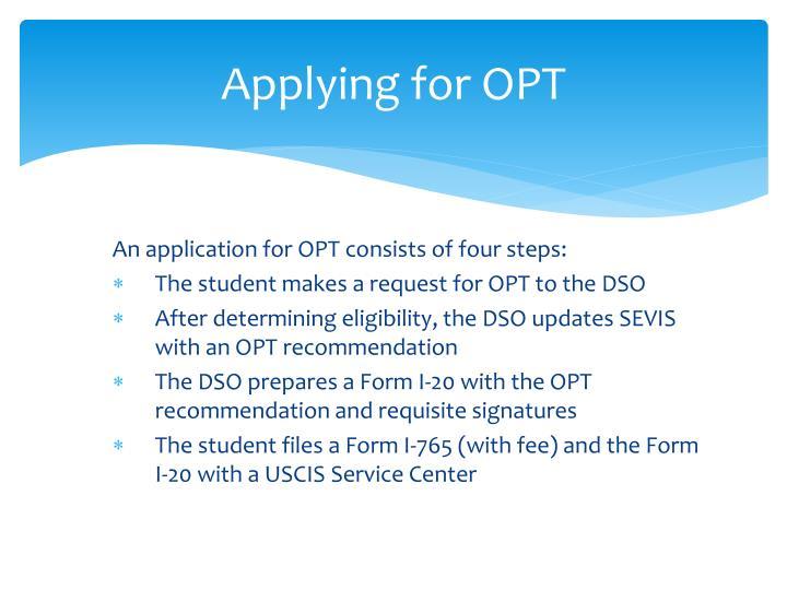 Applying for OPT