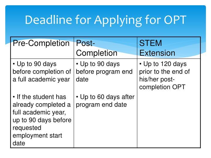 Deadline for Applying for OPT