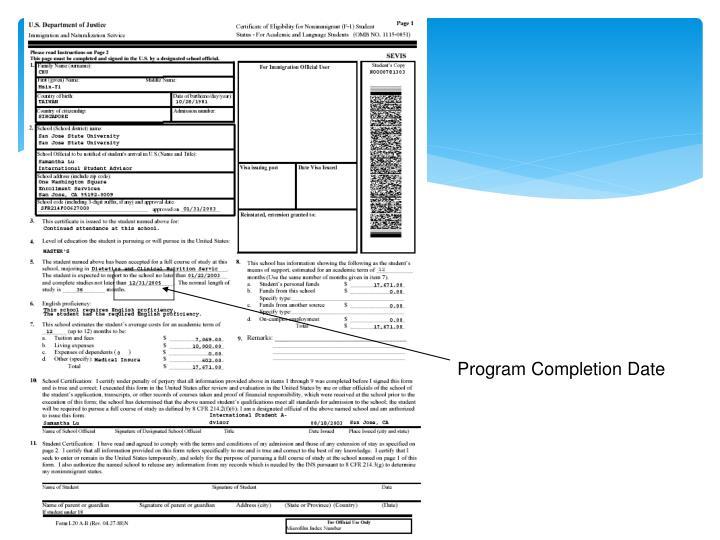 Program Completion Date
