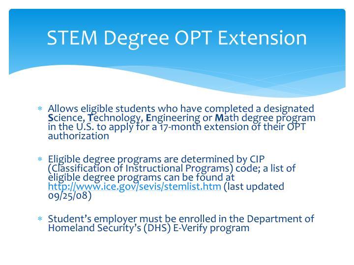 STEM Degree OPT Extension