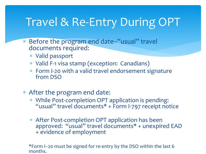 Travel & Re-Entry During OPT