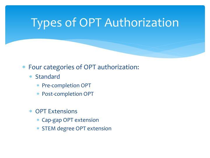 Types of opt authorization
