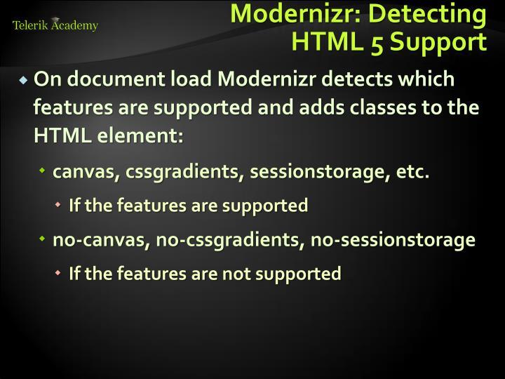 Modernizr: Detecting