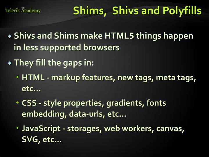 Shims,  Shivs and Polyfills
