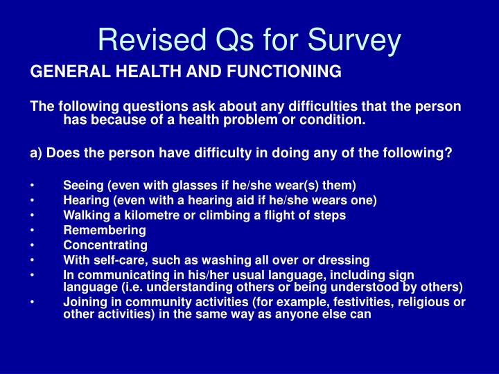 Revised Qs for Survey