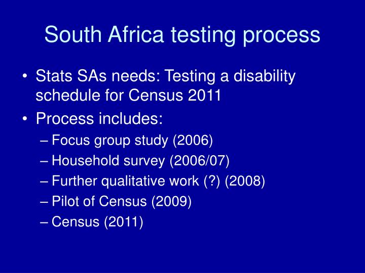 South Africa testing process