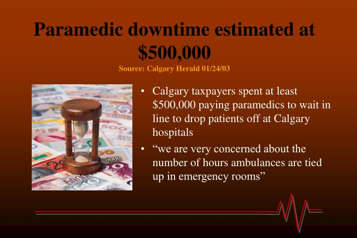 Paramedic downtime estimated at $500,000