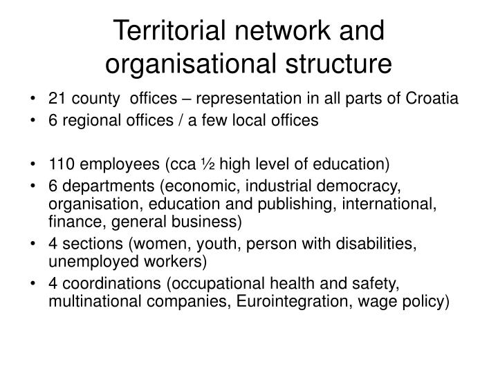 Territorial network and organisational structure