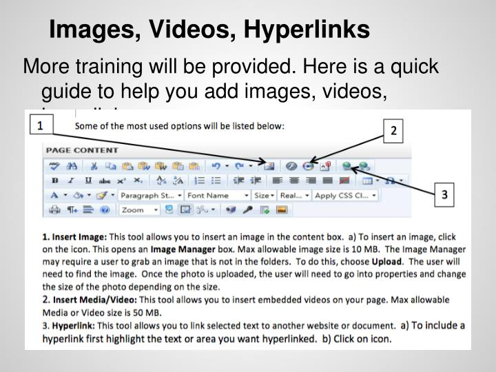 Images, Videos, Hyperlinks