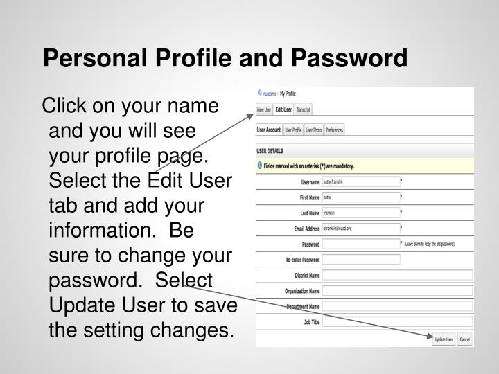Personal Profile and Password