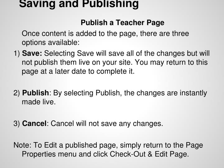 Saving and Publishing